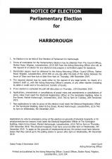 Notice of Parliamentary Election for Harborough